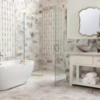 Beautiful Beige Bathrooms Tiled To Be Useable and Sturdy