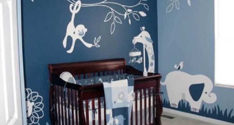 Gray Teal Safari Themed Boy's Nursery