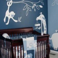 Gray Teal Safari Themed Boy's Nursery